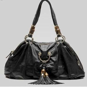 Gucci Black Lambskin Leather Bamboo Tassel Hobo